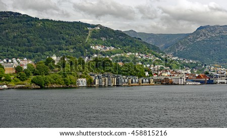 Shoreline view during passage to the sea from Bergen, Norway