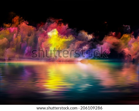 Shores of Neverland series. Backdrop of colors and gradients on the subject of art, creativity, imagination and design - stock photo
