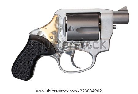 Short barreled revolver that is isolated on white - stock photo