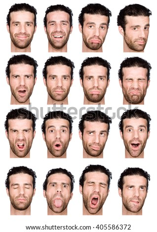 short curly hair brunette adult caucasian man collection set of face expression like happy, sad, angry, surprise, yawn isolated on white