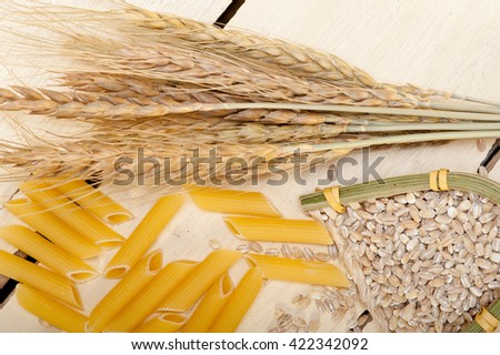 short Italian pasta penne with durum wheat grains - stock photo