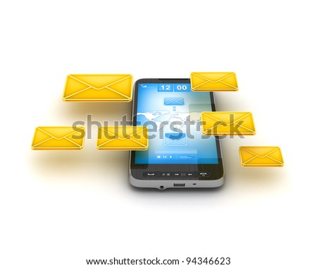 Short Message Service (SMS) & Mobile internet on cell phone - concept illustration - stock photo