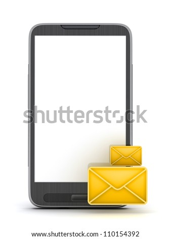 Short Message Service (SMS) - mobile phone on white background - stock photo