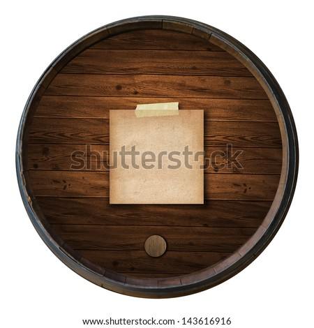 short note old paper on the Wine barrels isolated white background - stock photo