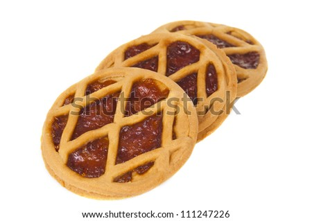 Short pies with jam on a white background
