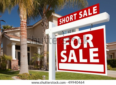 Short Sale Home For Sale Real Estate Sign and House - Right Side. - stock photo