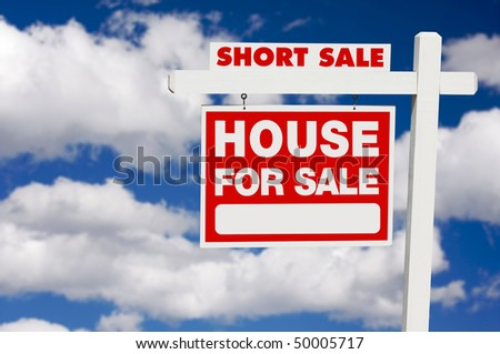 Short Sale House For Sale Real Estate Sign on Clouds. - stock photo