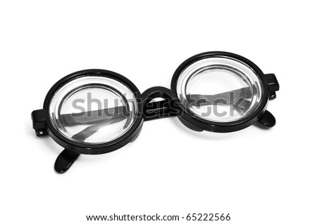 short-sighted glasses isolated on a white background - stock photo