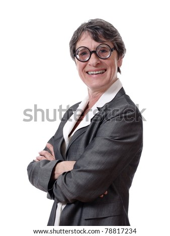 short-sighted lady with glasses isolated on white background - stock photo