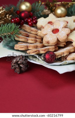 Shortbread Christmas cookies with Christmas decorations and copy space. Shallow dof