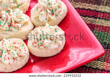 Shortbread cookies decorated for Christmas. - stock photo
