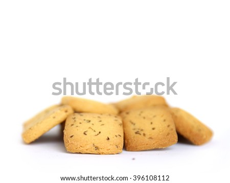 shortbread cumin biscuit isolated on white background