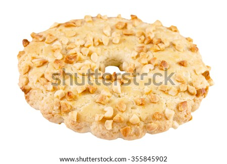Shortbread ring with peanuts - stock photo