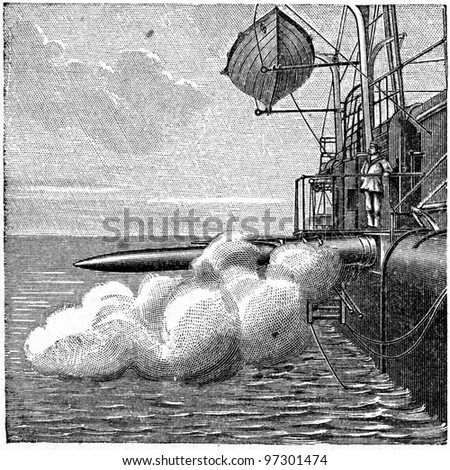 shot a torpedo - an illustration of the encyclopedia publishers Education, St. Petersburg, Russian Empire, 1896 - stock photo