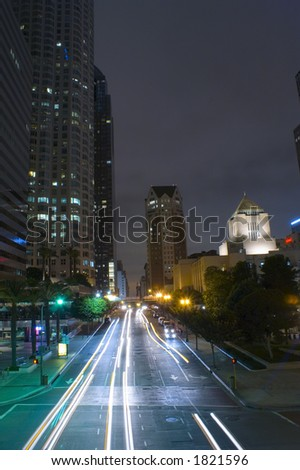 Shot from a street overpass in downton LA. - stock photo