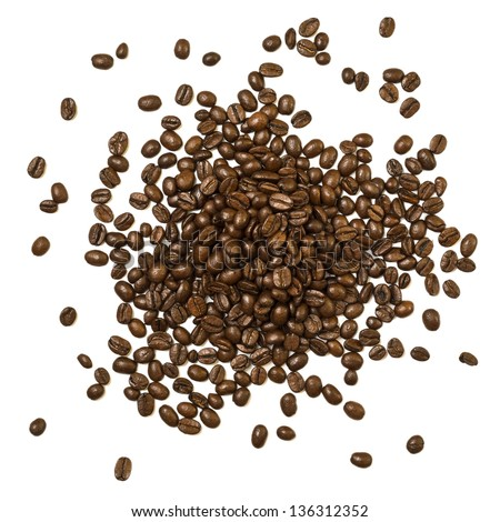 Shot from above handful pile of the roasted coffee beans isolated over white background - stock photo