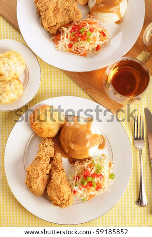 Shot from above of a traditional fried chicken dinner - stock photo