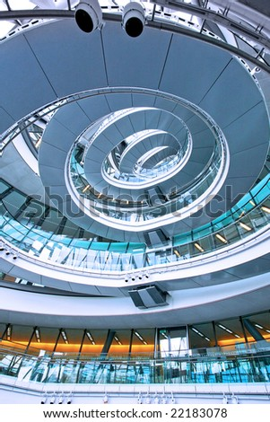 Shot from below of big ellipse staircase - stock photo