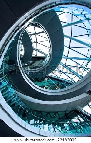 Shot from below of big round stairway - stock photo