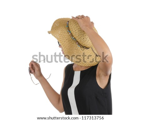 Shot from the back of a woman (tourist ) with a hat. Isolated on white. - stock photo
