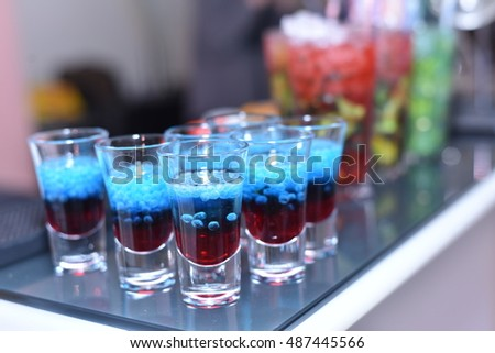 shot glasses with cocktail