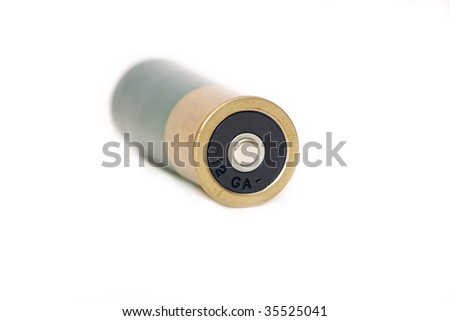 Shot gun ammunition shell isolated on white, horizontal