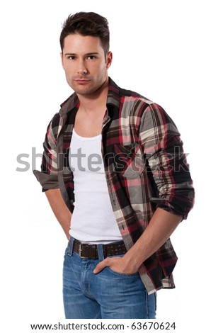 shot image of good looking young and attractive male model