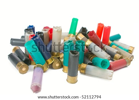 shot multi-colored cartridges on a white background - stock photo