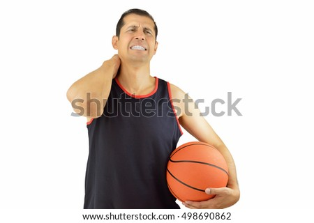 Shot of a basketball player with a neck injury over white background