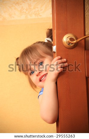 Shot of a beautiful little girl playing at home. - stock photo