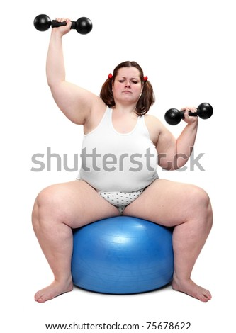 Shot of a bodybuilder with blue ball on a white background.