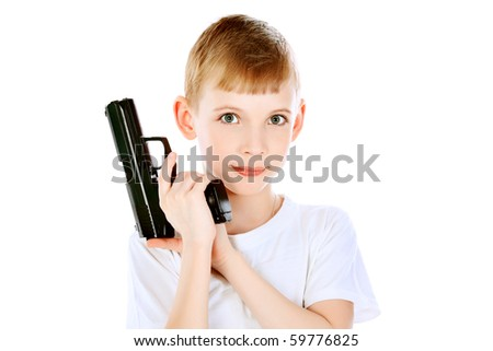 Shot of a boy with a gun. Isolated over white background. - stock photo