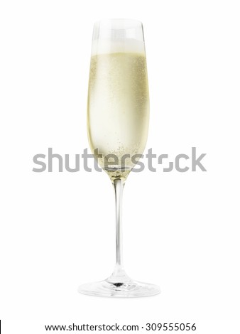 Shot of a champagne glass full of champagne cut out on a white background. - stock photo