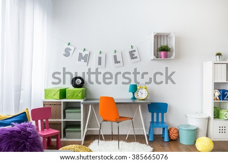 Shot of a colorful room for children - stock photo