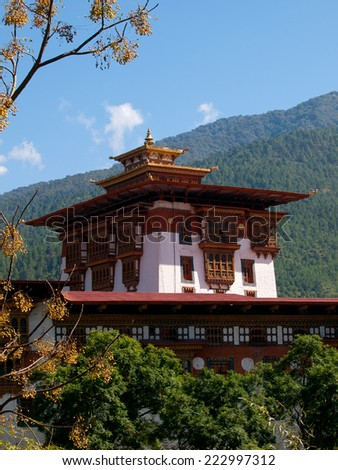 Shot of a detail of the Punakha Dzong in Bhutan - stock photo