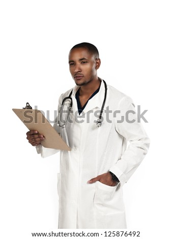 Shot of a doctor holding a clipboard - stock photo