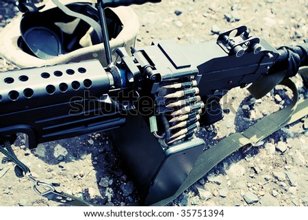 Shot of a firearms at a battlefield. - stock photo