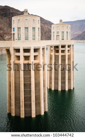 Shot of a Hoover Dam Intake Towers - stock photo