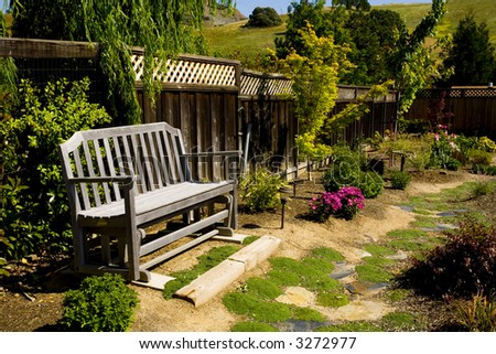 Shot of a nicely landscaped backyard in Northern California.