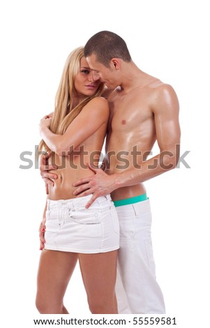 Shot of a passionate loving couple, over white background - stock photo