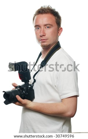 shot of a photographer who holding a camera - stock photo