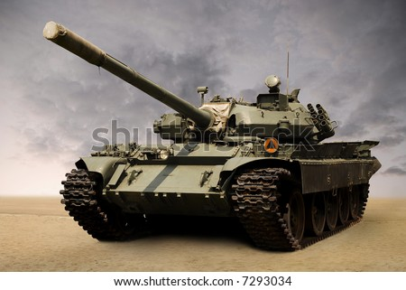 shot of a russian military tank T55 from eighties. Cannon covered with his original case. - stock photo