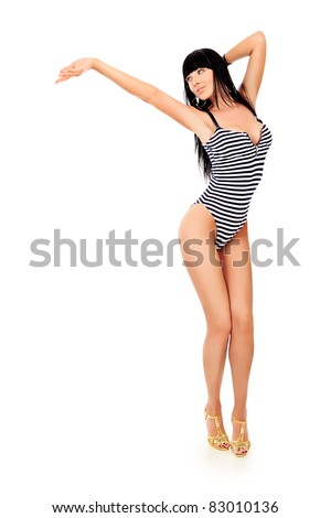 Shot of a sexy woman in bikini. Isolated over white background. - stock photo