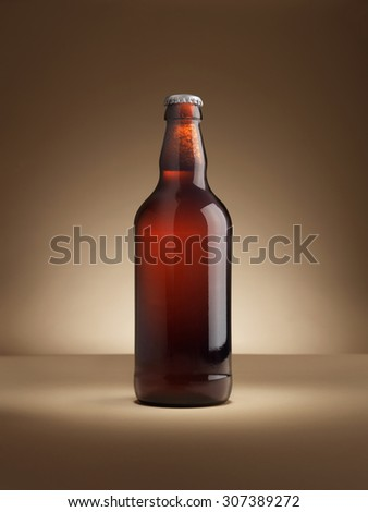 shot of a single bottle of real ale on a colored background lit with in a halo, vignette style with copy space for the designer. Background is natural, lighting with no post production adjustments.  - stock photo