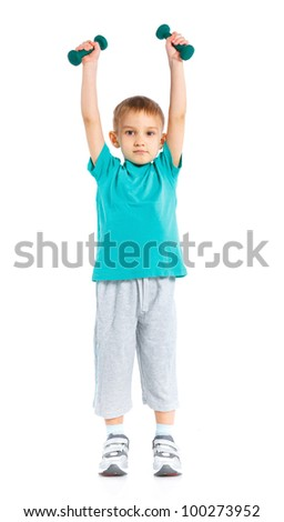 Shot of a sporty little boy with dumbbells. Isolated over white background. - stock photo