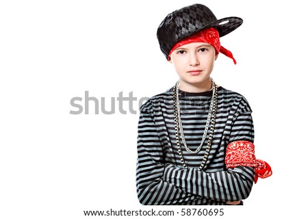 Shot of a trendy teenager posing over white background.