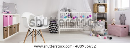 Shot of a warm bedroom for a little girl - stock photo
