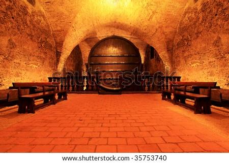 Shot of a wine cellar. - stock photo