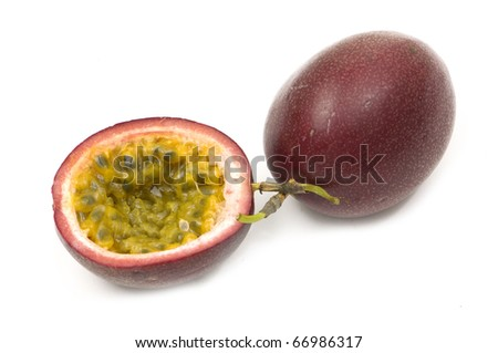 Shot of an isolated passionfruit, cut open. - stock photo