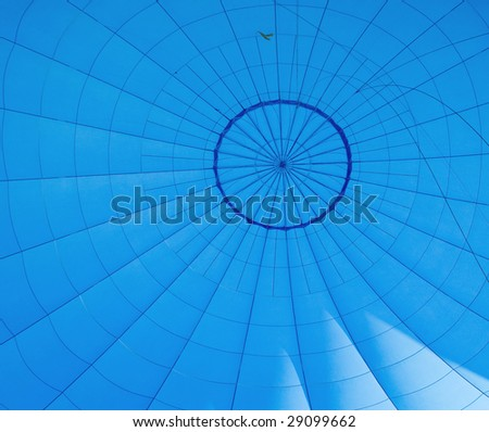 Shot of blue air balloon inside. Abstract background - stock photo